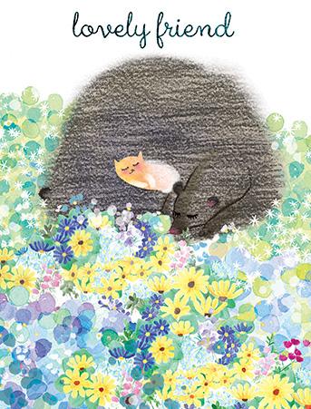 cat and bear flower field watercolor masha dyans