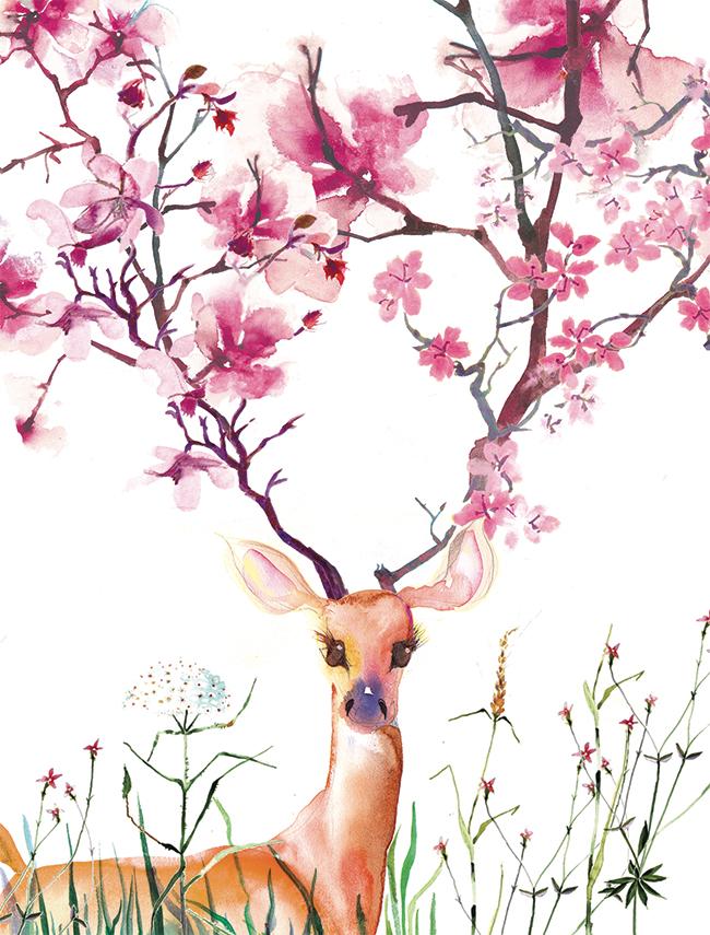 April flowering deer by masha dyans