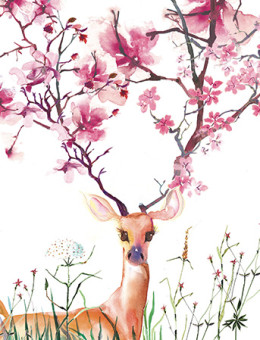 flowering deer cherry pink watercolor greeting card Masha D'yans
