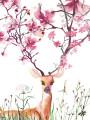 flowering deer cherry pink watercolor greeting card Masha D'yans