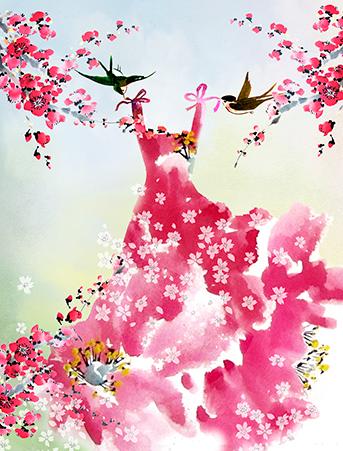 sakura pink dress dress swallows watercolor masha dyans greeting card