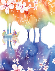 row boat among trees white blooms lake watercolor masha dyans greeting card