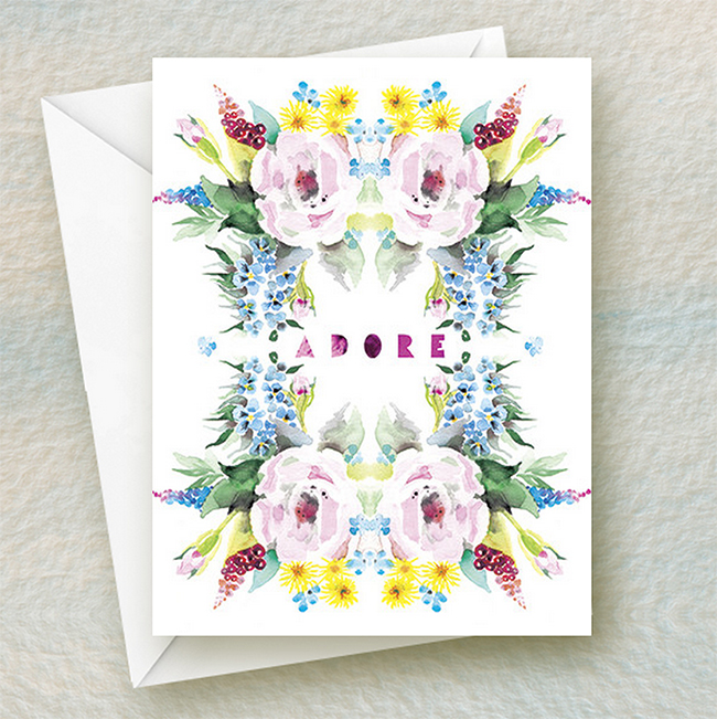 Adore Flowers - summer watercolor greeting card by Masha D'yans