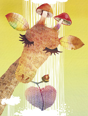 LoveLand Giraffe watercolor greeting card by Masha D'yans sets a playfully festive mood for any occasion: Birthday, Congratulations, Thank You, Mother's Day, Miss You or Just Because.