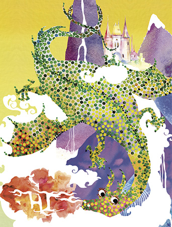 LoveLand Dragon watercolor greeting card by Masha D'yans sets a playfully festive mood for any occasion: Birthday, Congratulations, Thank You, Mother's Day, Miss You or Just Because.