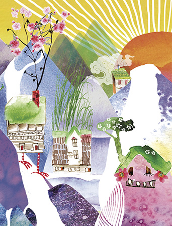 LoveLand Homies watercolor greeting card by Masha D'yans sets a playfully festive mood for any occasion: Birthday, Congratulations, Thank You, Mother's Day, Miss You or Just Because.