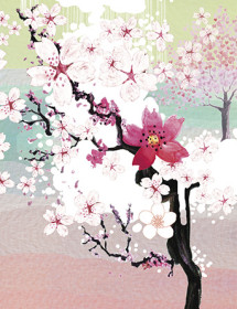 LoveLand Sakura Garden watercolor greeting card by Masha D'yans