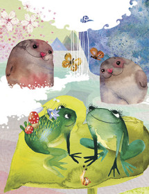 LoveLand Seals Frogs watercolor greeting card by Masha D'yans