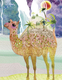 LoveLand Camel watercolor greeting card by Masha D'yans