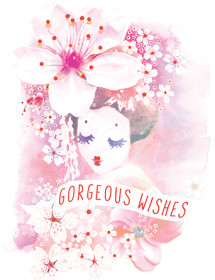 Geisha Portrait is tenderness itself. Recalling the exquisiteness of Japan in all its sakura-drenched glory, This Masha D'yans watercolor card is here to brighten your recipient's day on any occasion.