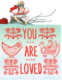 Love Weaver is hard at work to remind your recipient how much they're loved. This Masha D'yans watercolor greeting card weaves a special connection by evoking the folk handicrafts of the days of lore, kind of akin to the art of the written letter.