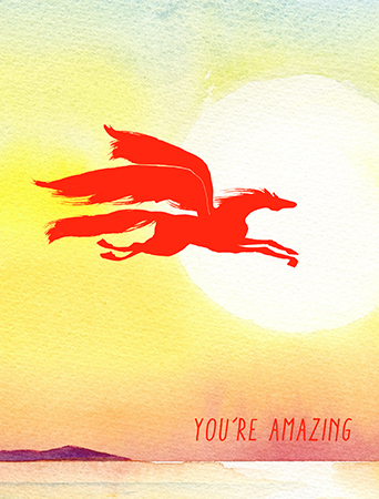 Sometimes someone's so amazing they start resembling a winged pegasus leaping over obstacles and mere humans. Let your recipient know how much they soar in your esteem with this dreamy Masha D'yans watercolor greeting card for all occasions.