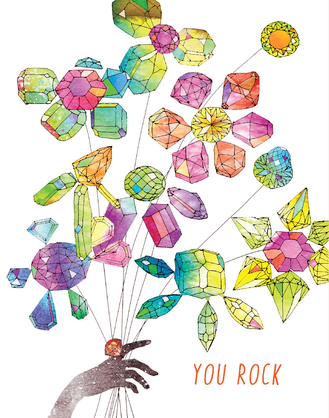 Rock Bouquet is composed of the rarest of jeweled plants, artisanally gathered in the faraway unspoiled fields of fairytales. All to highlight your recipient's superiority and shine. Rock this Masha D'yans all occasions greeting card.