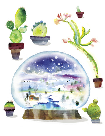 Snow Globe Cacti watercolor greeting card by Masha D'yans