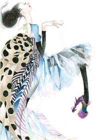 GS1 fashion strut heel galina sokolova watercolor greeting card