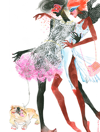GS2 fashion girls dog masks galina sokolova watercolor greeting card