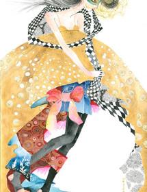 GS3 fashion gold babydoll galina sokolova watercolor greeting card