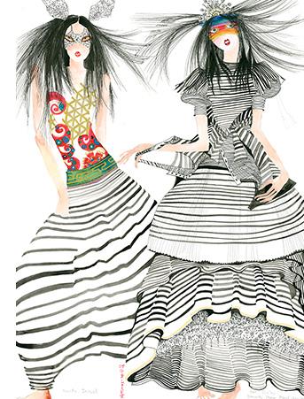 GS4 fashion stripes girls galina sokolova watercolor greeting card