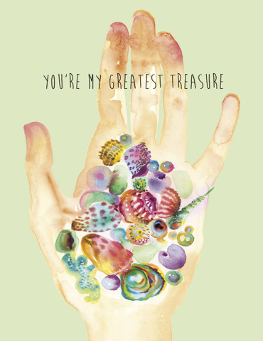 Beach Treasure Hand watercolor greeting card by Masha D'yans