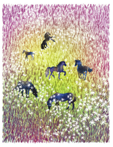 Horses in the Field watercolor greeting card by Masha D'yans