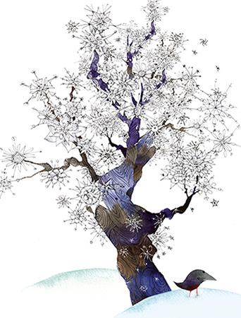Snowflake Tree January Bird