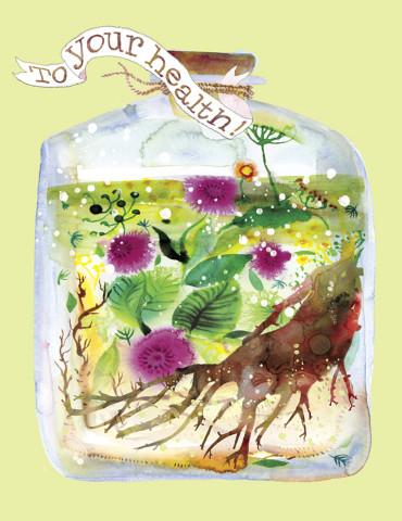 Health Potion watercolor greeting card by Masha D'yans