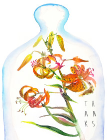 Bell Jar Tiger Lily watercolor greeting card by Masha D'yans