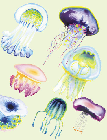 Jellyfish watercolor greeting card by Masha D'yans sets a playful mood for any occasion: Birthday, Love, Valentine's Day, Thank You, Sympathy, Miss You or Just Because.