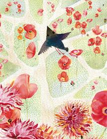 Poppy Field July Bird watercolor greeting card by Masha D'yans