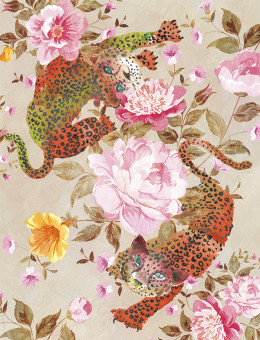 Leopards in Roses watercolor greeting card by Masha D'yans