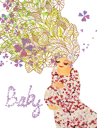 M14 prego belly florals hair masha dyans watercolor greeting card