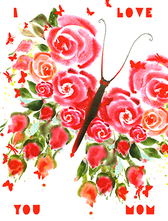 Rose butterfly is made of lovely roses for Mom! Show your love to the most important woman with this Masha D'yans mother's day greeting card featuring a characteristic flight of watercolor whimsy.