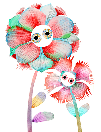 M17 mother's day love flowers with eyes watercolor masha dyans