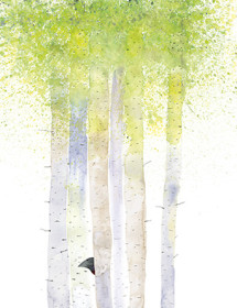 Birch Trees May Bird watercolor greeting card by Masha D'yans