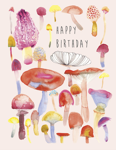 Mushrooms Bday watercolor greeting card by Masha D'yans