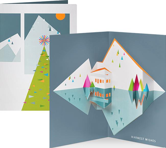 Modern Chalet pop up holiday card. In Masha News: Saks + MoMA