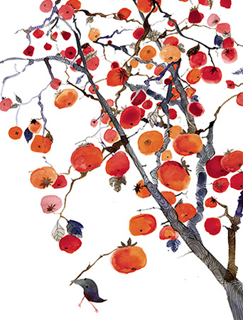 Persimmon Tree November Bird watercolor greeting card by Masha D'yans