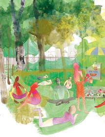 NY2 central park green masha dyans watercolor greeting card