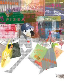 NY3 nyc shopping masha dyans watercolor greeting card