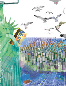 NY4 statue liberty harbor seagulls metro masha dyans watercolor greeting card