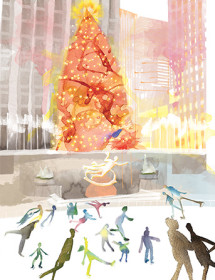 rock center skaters winter christmas tree watercolor greeting card masha d'yans