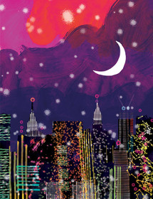 NY6 nyc night skyline purple sky city lights masha dyans watercolor greeting card