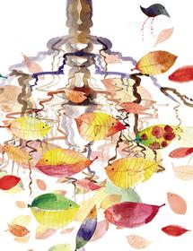 Fish Leaves October Bird watercolor greeting card by Masha D'yans.