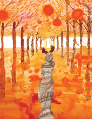 orangescape park statue watercolor masha dyans