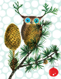 Owl Pinecone watercolor masha dyans watercolor holiday card features lush original art front and back, offset printing with soy inks, recycled heavy card stock and infinite send-ability.