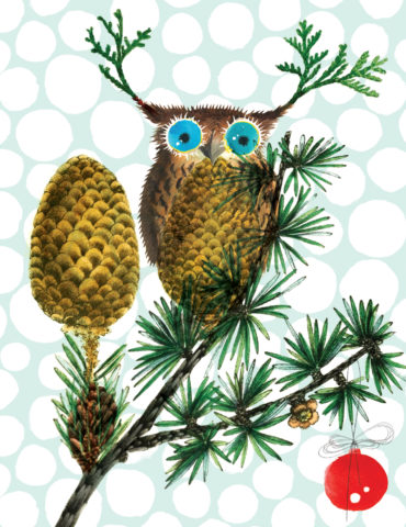 Owl Pinecone watercolor masha dyans watercolor holiday cardfeatureslush original artfront and back, offset printing with soy inks,recycled heavy card stockand infinitesend-ability.
