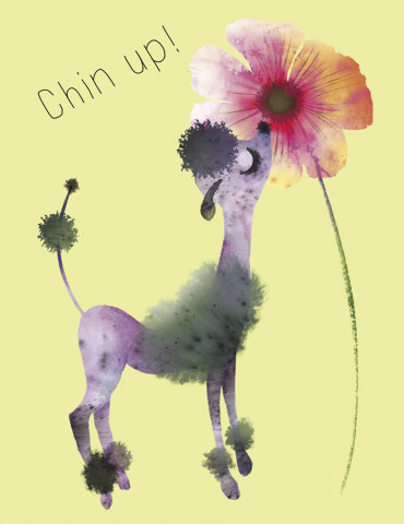 Chin Up Poodle watercolor greeting card by Masha D'yans