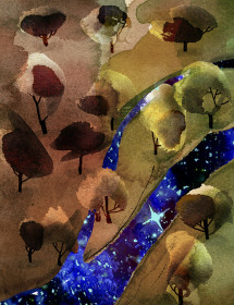 Stars River watercolor greeting card by Masha D'yans