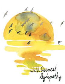 sunset flock birds yellow sunset watercolor greeting card Masha D'yans