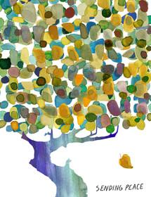 Peaceful Tree - Sympathy watercolor greeting card by Masha D'yans.